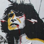 Bon Scott portrait street artwork