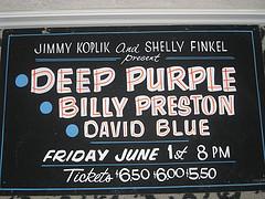 Deep Purple concert sign